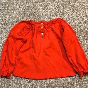 Okie Dokie bright red tshirt w ruffle cuffs/hem
